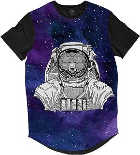 ce0a48590 Camiseta Longline Insane 10 Animal Astronauta Urso no Espaço Sublimada Roxa