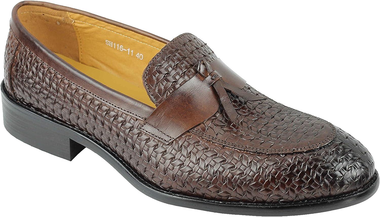 Mens Brown Basket Woven Effect Real Leather Tassel MOD Loafers Smart Formal Dress shoes