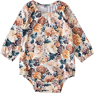 DSAGF Newborn Infant Baby Girls Fashion Long Sleeve Floral Romper Bodytsuit Outfits Vintage Floral Print Baby Pajamas