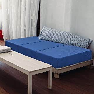 Olee Sleep  Tri-Folding Memory Foam Topper, 4`` H, Blue
