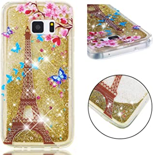 Glitter Case for Samsung Galaxy S7,QFFUN Bling Floating Liquid Quicksand Soft Clear Slim Fit Silicone Case with Screen Protector Shockproof Transparent Protective Cover Bumper - Butterfly Tower