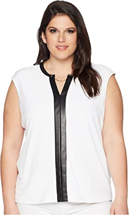 Calvin Klein Plus - Plus Size Sleeveless V-Neck Chain Top