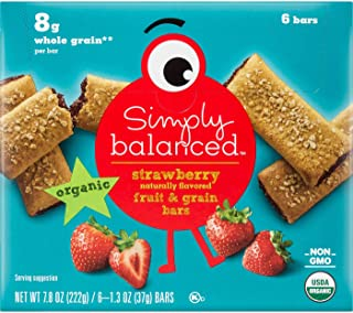 Simply Balanced Organic Strawberry Naturally Flavored Fruit & Grain Bars, 7.8 OZ (One Pack)