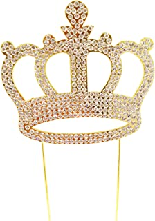 Luxury Crown Cake Topper For Anniversary, Birthday Party & Wedding. Shine & Sparkles. BEST OFFER ON AMAZON. (Gold)