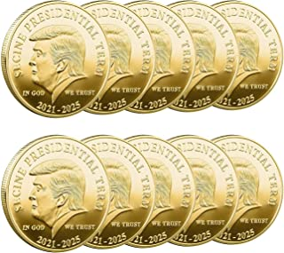 10pcs Donald Trump Coin 2021-2025 - Keep America Great Collectible Coin - Gold Plated Collectible Coin, Protective Case In...