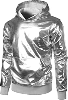 Mens Metallic Gold Shirts Nightclub Styles Long Sleeve Hoodies