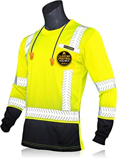 KwikSafety (Charlotte, NC) MECHANIC Long Sleeve (w/POCKET & Black Trim) Class 3 ANSI High Visibility Safety Shirt Fishbone Reflective Tape Construction Security Hi Vis Clothing Men | Yellow XX-Large