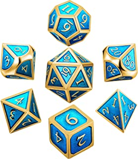 Hestya 7 Pieces Metal Dices Set DND Game Polyhedral Solid Metal D&D Dice Set with Storage Bag and Zinc Alloy with Enamel for Role Playing Game Dungeons and Dragons (Golden Cerulean)