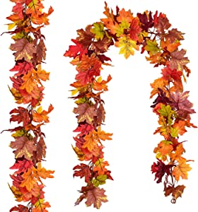 Artiflr 2 Pack Fall Maple Garland,5.9Feet/Strand Hanging Vine Maple Leaf Garland Artificial Autumn Foliage Garland Thanksgiving Decor for Home Wedding Fireplace Party Christmas
