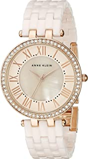 Anne Klein Women's AK/2130RGLP Swarovski Crystal-Accented Rose Gold-Tone and Light Pink Ceramic Bracelet Watch