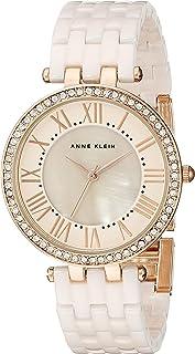 Anne Klein Women's AK/2130RGLP Swarovski Crystal-Accented Rose Gold-Tone and Light Pink Ceramic Bracelet Watch