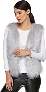 ACEVOG Women's Grey Sleeveless Faux Fur Vest Coat Jacket Waistcoat Outwear