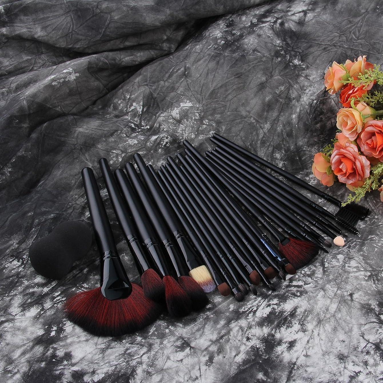 国民投票艶売上高女性の化粧品セット24個ソフトブラシでファンデーションパウダーアイシャドウブラシを作るプロのメイクアップツール(黒)