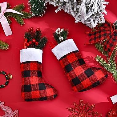 Skylety 24 Pieces Red Black Plaid Stockings Christmas Buffalo Plaid Stocking Classic Stocking Decorations Christmas Stockings
