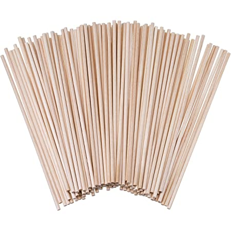 6 x 1// 8 Inch Unfinished Natural Wood Craft Dowel Rods 100 Pack