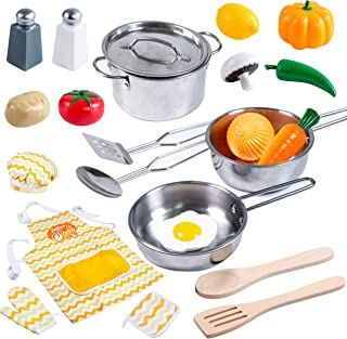 Kitchen Pretend Play Accessories Toys with Stainless Steel Cookware Pots and Pans Set, Cooking Utensils, Apron & Chef Hat, and Grocery Play Food for Kids Boys, Toddler and Girls Gifts Learning Tool.