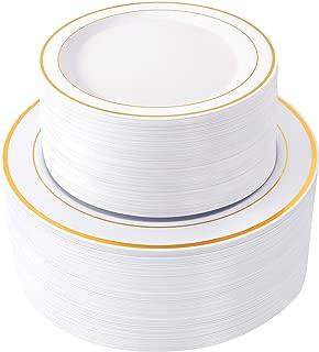 WDF 120 pieces Gold Disposable Plastic Plates- Gold Rim Wedding Party Plates,Premium Heavy Duty 60-10.25