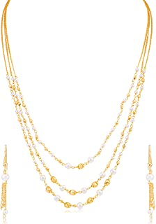 Sukkhi Modish Pearl Gold Plated Wedding Jewellery Multi-String Necklace Set For Women (N71876GLDPV092017)