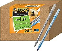 BIC PENS Large Bulk Pack of 240 Ink Pens, Bic Round Stic Xtra Life Ballpoint Pens Medium point 1.0 mm, 120 Black Pens & 120 Blue Pens in Box Combo Pack