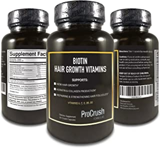 Biotin Growth Support Vitamins- Grow Longer, Fuller, Thicker, Healthier Hair, Nails & Skin for Both Men & Women