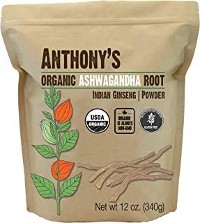 Anthony's Organic Ashwagandha Powder, 12 oz, Batch Tested Gluten Free, Indian Ginseng, Non GMO, Keto Friendly