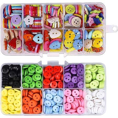 Hossom Bottoni Colorati, 590 Pezzi Bottoni in Resina, Bottoni Caramella Colori Cucito con Scatola di Plastica, per Artigianato, Cucito, Vestiti, DIY Pittura Decorazione