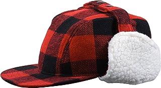 Men's Wool Plaid Elmer Fudd Hat with Sherpa Earflaps Hunting Cap