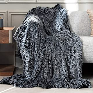 PANDATEX Faux Fur Throw Blanket - Luxury Shaggy Warm Fuzzy Fluffy Elegant Long Hair Washable Decoration Blanket for Sofa Couch and Bed, Grey 50x60 in