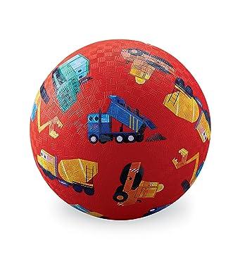 "Crocodile Creek 2138-4 Little Builder Construction Trucks Playground Balls, 5"", Red/Blue/Teal/Orange/Yellow/Black/White"