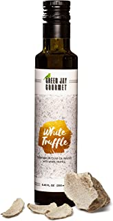 Green Jay Gourmet White Truffle Olive Oil from Organically Grown Olives - Italian White Truffle Crushed Extra Virgin Olive Oil - Trans-Fat Free Cold Pressed Olive Oil - Gourmet Olive Oil - 250ml