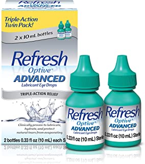 Refresh Optive Advanced Lubricant Eye Drops For Dry Eyes, 0.33 Fl Oz Sterile (2 Count)