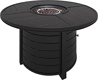 Ashley Furniture Signature Design - Castle Island Outdoor Round Fire Pit Table - Slate-Style Top - Stainless Steel Burner with Glass Beads - Push-Button - Dark Brown