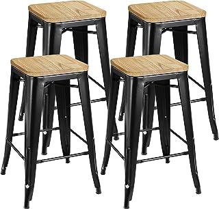 "ZENY Set of 4 Metal Bar Stools 26"" Counter Height with Wooden Seat Stackable Indoor/Outdoor Barstools, 330 lbs Capacity"
