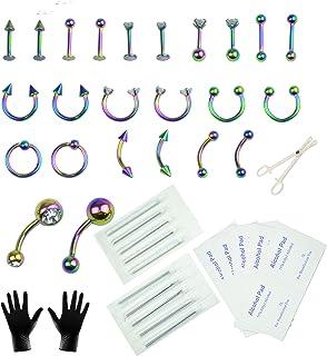 Aokbean 47 Pezzi Kit per Piercing Monili Penetranti del Corpo Acciaio Inossidabile 14G 16G Aghi da Piercing per Forniture ...
