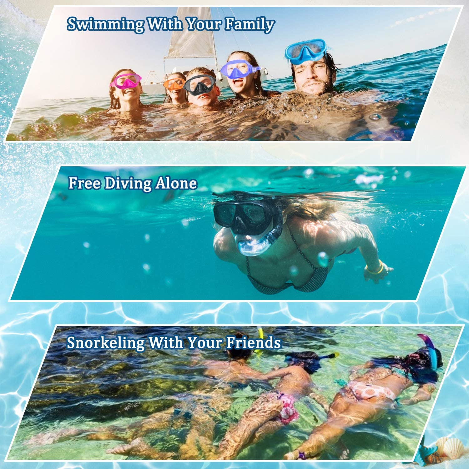 Anti-Fog Lens Leakproof Skirt 180/° Panoramic View Face Dive Masks for Adults Women Men Fxexblin Swim Mask Swimming Goggles Nose Cover Snorkel Gear Scuba Diving Snorkeling