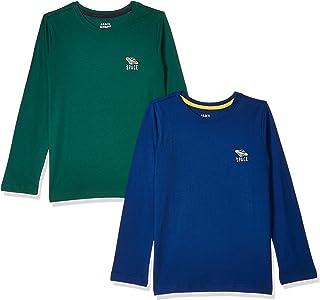 Amazon Brand - Jam & Honey Boy's Plain Regular T-Shirt (Pack of 2) (JHBTS-FS-1-PO2_Multicolor 2-3 Years)