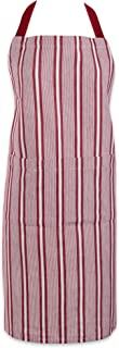 DII Cotton Adjustable Stripe Chef Bib Apron with Pockets and Extra Long Ties, 32 x 28