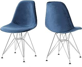 Christopher Knight Home William Mid Century Cobalt Velvet Eiffel Chair (Set of 2)