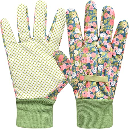 Gardening Gloves for Women 2 Pairs, Ladies Gardening Gloves Comfortable Breathable Non-Slip Flexible,Garden working Gloves with Soft PVC Dots (Small/Medium,Green)
