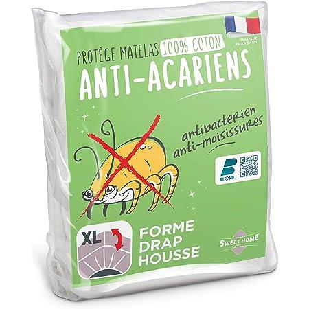 Sweethome   Protège Matelas Anti Acariens - 140x190/200 cm - Molleton 100% Coton - Doux et Confortable - Forme Drap Housse - Lavable en Machine