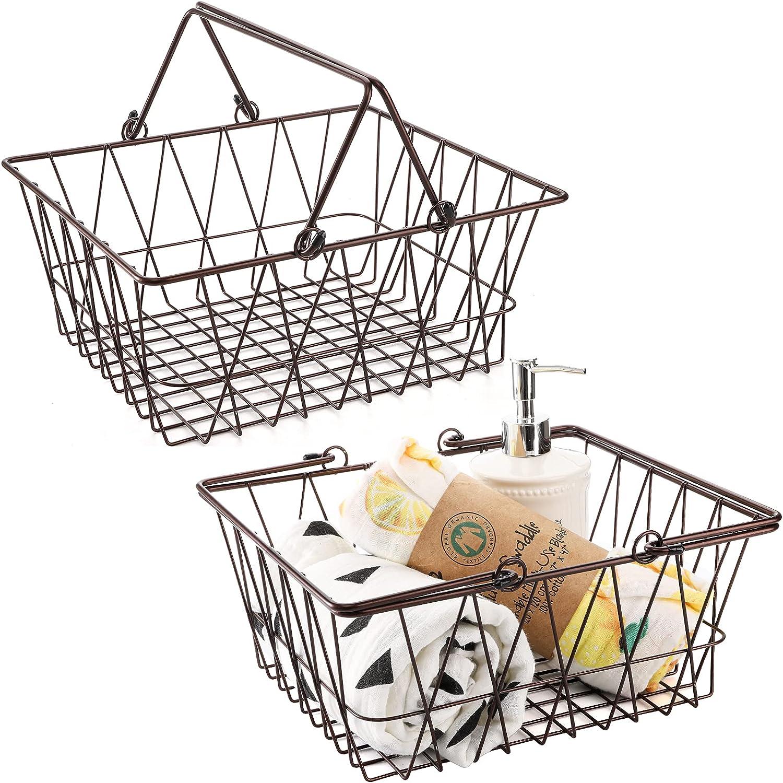 Cedilis 2 Pack Wire Storage Basket with Handles, 11 X 10 X 4.75Inch Modern Bronze Metal Basket, Storage Organizer Bin for Organizing Bathroom, Pantry, Kitchen, Cabinet, Shelf and Craft Room