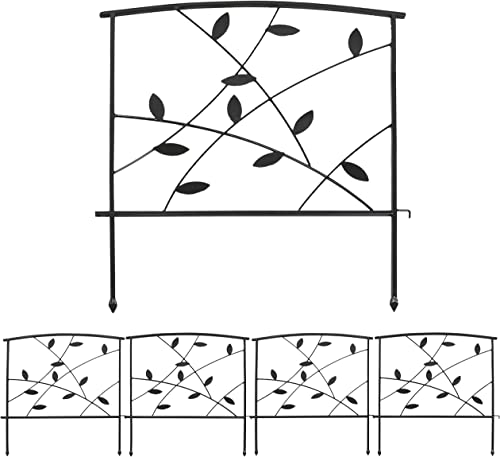 2021 Sunnydaze 5-Piece Modern Leaves and Vines Decorative Metal Garden Fence Panel Set - Steel Border Garden and Landscape Fencing - 26-Inch Wide x new arrival 32-Inch Tall Each - 2021 10-Foot Overall Length - Black online sale