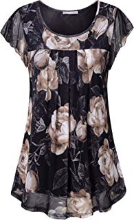 Women's Short Sleeve Tunics Shirt Floral Pleated Front Mesh Blouses Tops