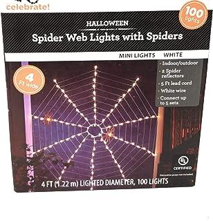 Celebrate Indoor-Outdoor Lighted Spider Web Halloween Lights with Spiders 4ft Diameter 100 Lights White
