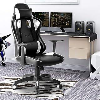 FurnitureR Silla de juego Silla de oficina Silla de computadora con respaldo alto Silla de escritorio de cuero de la PU Si...
