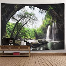 Mountain Cave Tapestry Waterfall Tapestry Forest Tree Tapestry Nature Tapestry Wall Hanging for Bedroom Living Room Dorm
