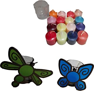 ShoppeShare Indoor/Outdoor Butterfly and Dragonfly Votive Holder Pair and Candles Bundle- Retired PartyLite
