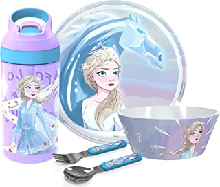 Zak Designs Frozen 2 Dinnerware Set Includes Plate, Bowl, Tumbler and Utensil Tableware Made of Durable Material and Perfe...
