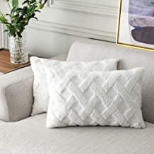 Foindtower Decorative Soft Fur Lumar Throw Pillow Covers Cute Embroidery Cushion Cover, Solid Tufted Geometric Pillow Case...