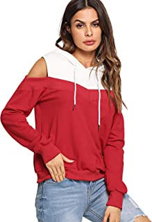 Women's Cold Shoulder Sweatshirt Drawstring Long Sleeve Hoodie